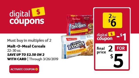 Malt-o-meal cereal 2 for $5 with digital coupon