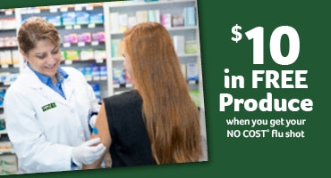 $10 in free produce when you get your NO Cost flu shot
